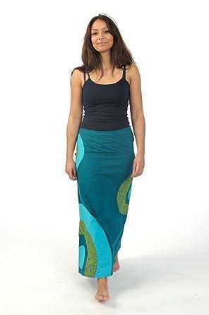 ca980f67296cd FANTAZIA - Jupe longue ethnique été nepali dream bleu vert -