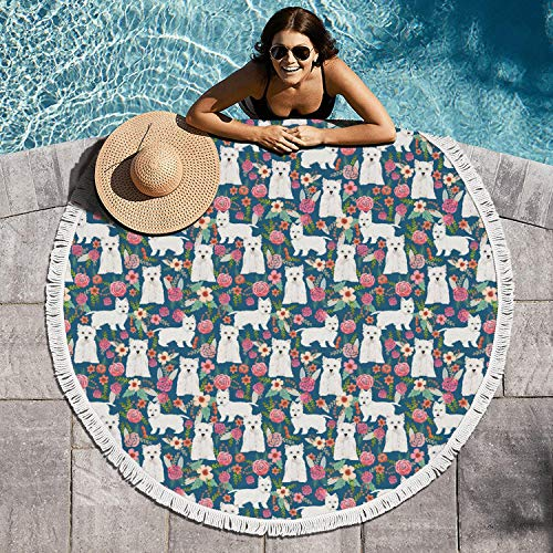 cuyde Round Beach Towel Blanket Westie Dog Florals Pool Coverup Mandala Microfiber Beach Tassels Super Water Absorbent Round Beach Blanket