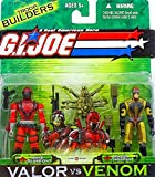 : G. I. Joe Troop Builders Valor vs. Venom 2 Pack Set 4 Inch Tall Action Figures - Sand Scorpion and Razor Trooper with Weapon Accessories, Comic and File Card