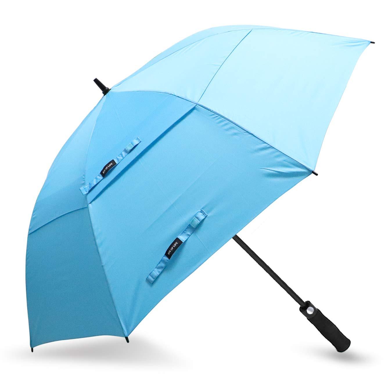 ZOMAKE Automatic Open Golf Umbrella 62/68 Inch - Large Rain Umbrella Oversize Windproof Umbrella Double Canopy for Men (Light Blue)