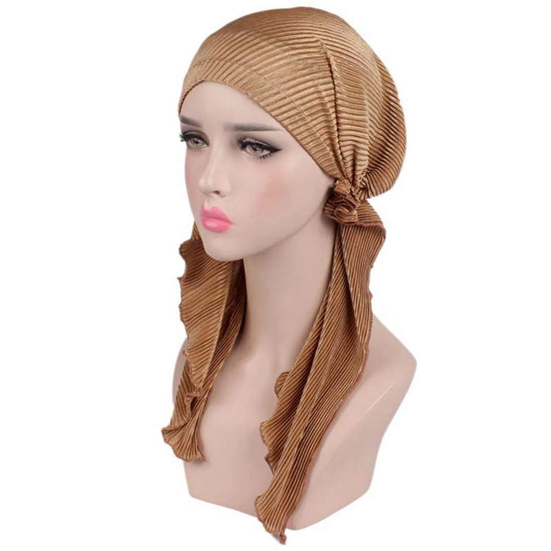Women Ruffle Headscarf Chemo Hat Turban Head Scarves Pre-Tied Headwear Bandana For Cancer Beige Size fits all