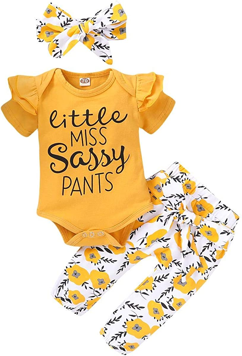 Sunflower Print Shorts//Pants Bowknot Headband 3 PCS Summer Outfits for 0-18 Months Ruffle Short Sleeve Romper Bodysuit Infant Baby Girls Clothes Sets