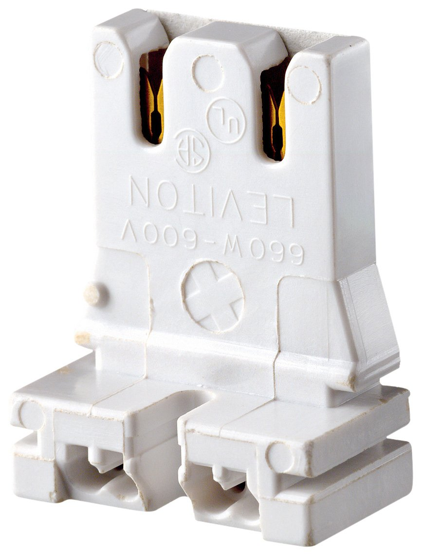 Standard Fluorescent Lampholder Straight-In Double Edge Leviton 13153-U Medium Base Low Profile Bi-Pin Quick-Connect White Slide-On