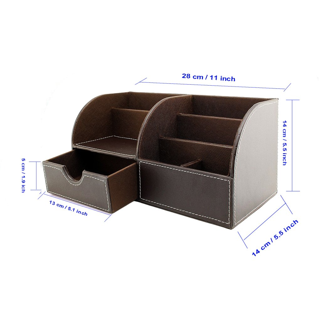 Btsky office multi functional pu leather desk organiser tidy btsky office multi functional pu leather desk organiser tidy business card pen mobile phone remote control holder storage box brown amazon office reheart Gallery