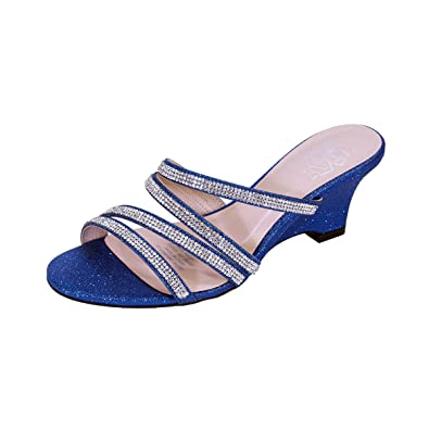 793ff9a2695ee Floral Kelly Women Extra Wide Width Rhinestone Strappy Slip On Wedge Heeled  Party Sandals Blue 5