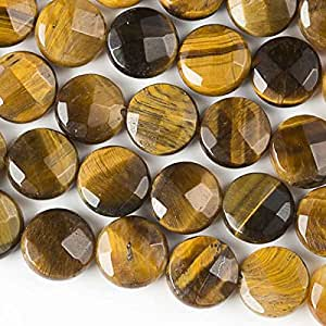 Cherry Blossom Beads Yellow Tiger Eye Beads 10mm Faceted Coin - 8 Inch Strand