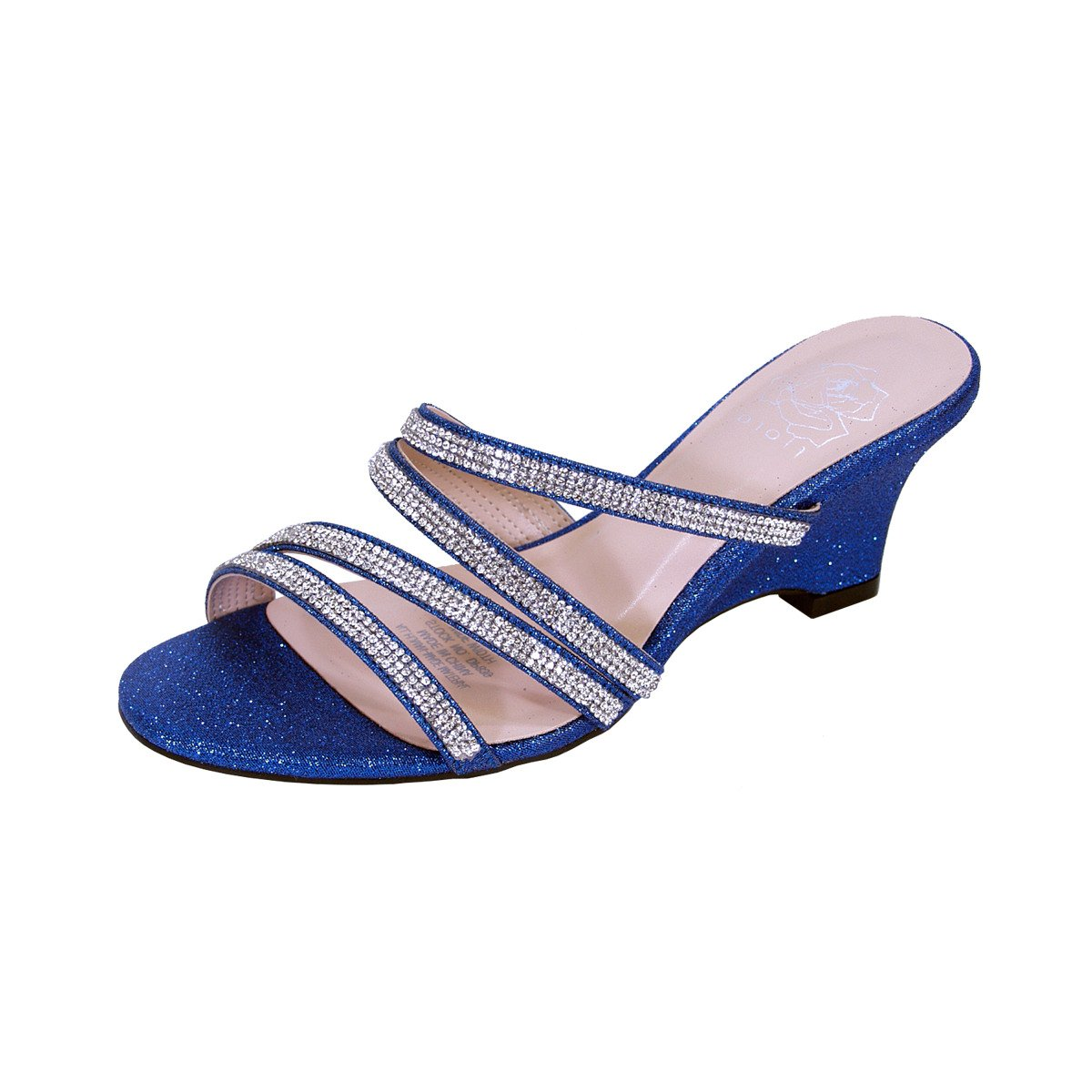 Floral Kelly Women Wide Width Rhinestone Strappy Slip On Wedge Heeled Party Sandals (Size/Measurement) B079C637RP 6 E|Blue