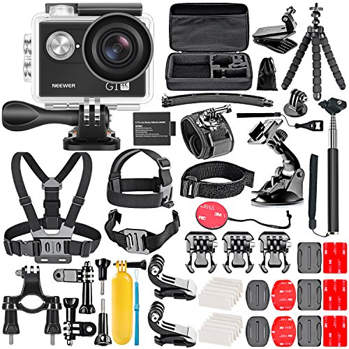 (Neewer G1 Ultra HD 4K Action Camera Kit Includes 12MP, 98 ft Underwater Waterproof Camera 170 Degree Wide Angle WiFi Sports Cam High-tech Sensor with 50-in-1 Action Camera Accessory Kit)