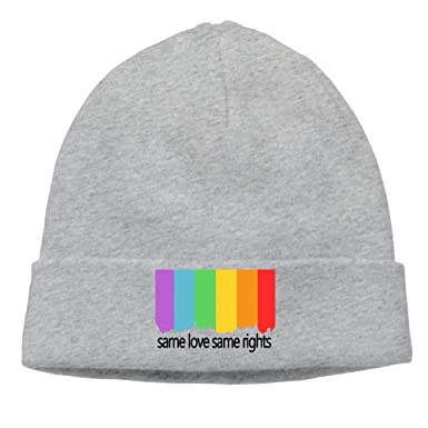 541ff72daa5 Amazon.com  LGBT Support Phrase Rainbow Flag Knit Beanies Wood ...