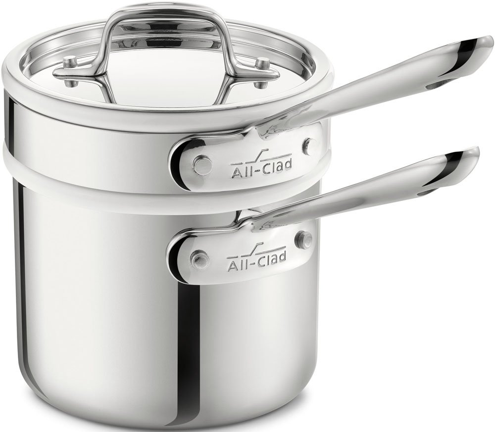 All-Clad 42025 Stainless Steel 3-Ply Bonded Dishwasher Safe Sauce Pan with Porcelain Double Boiler and Cookware Lid, 2-Quart, Silver