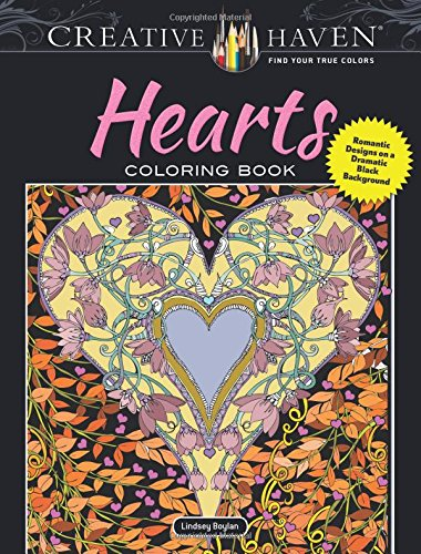 Hearts Coloring Book Black Background