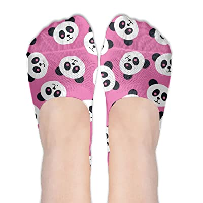 Low Cut Socks Cute Panda Head Seamless Printed Casual No-show Liner Invisible Polyester Cotton Sock For Girls & Womens , One Pair