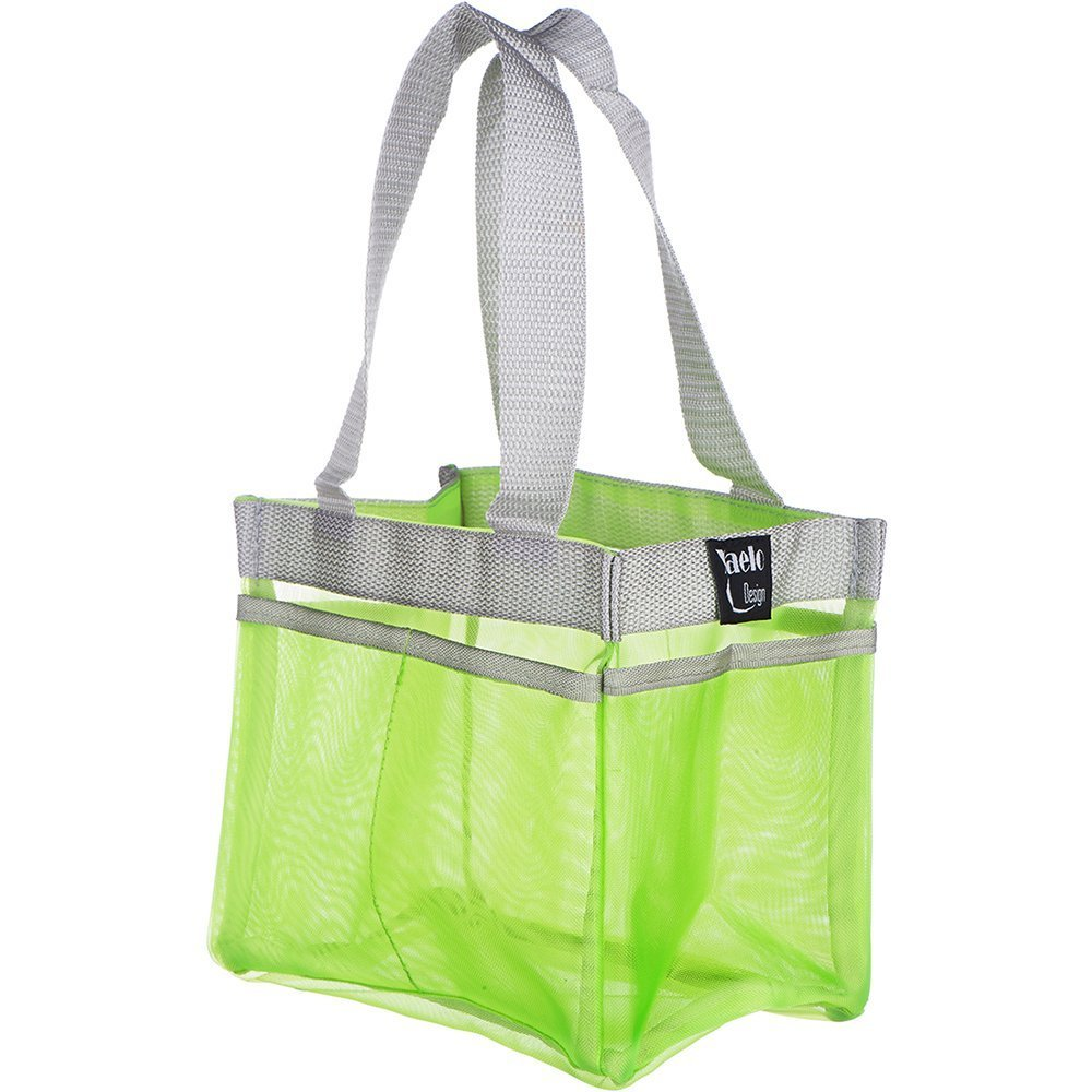 YaeloDesign Shower Caddy Portable Bathroom Mesh Tote Organizer with 7 Storage Compartments Green Yaelo Design CAD_GREEN