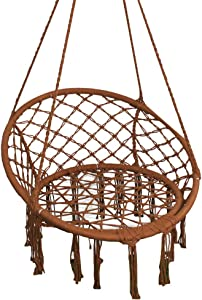 PIRNY Hammock Chair Rope Hanging Swing,Capacity Up to 400 Lbs,Boho Handmade Tassels,Suitable for Indoor Outdoor Porch Garden Patio (Brown)
