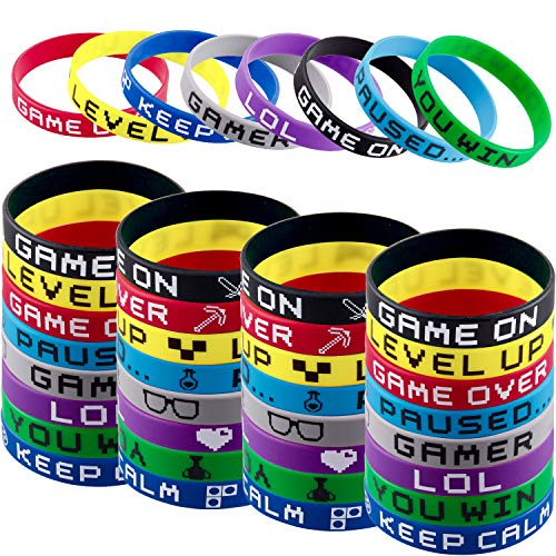 SIQUK 80 Pieces Video Game Bracelets Rubber Bracelets for Gamer Birthday Party Favors, 8 Styles ()