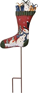 Attraction Design Christmas Snowman Garden Stake Decor Snowman Stocking Decoration, Outdoor Metal Yard Sign Lawn Stake Christmas Snowman Yard Decor Holiday Decoration for Lawn (Red)