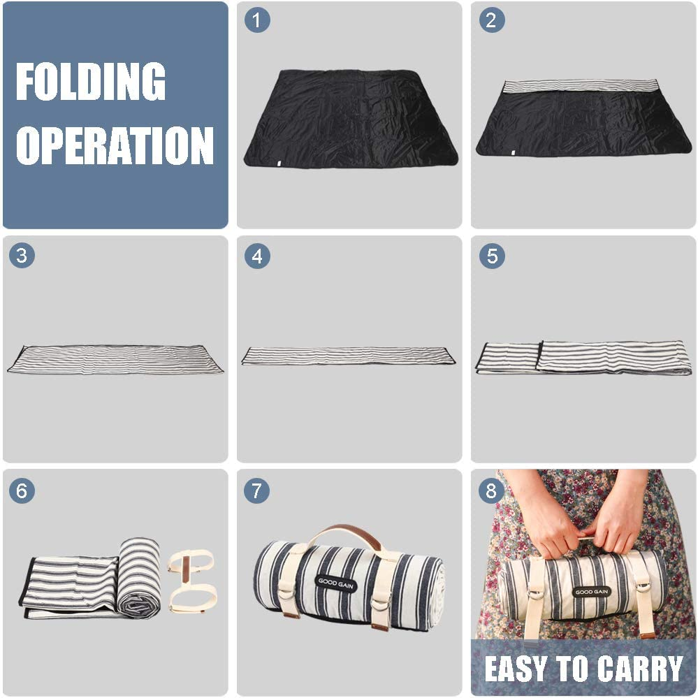 Large Foldable Sand Proof Blanket for Wet Grass Hiking or Kids Playground XL Picnic Mat/… Good Gain Picnic Blanket Waterproof,Beach Blanket Portable with Carry Strap Outdoor Camping Party