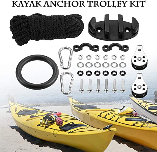 21-Pack For Kayak Anchor Trolley Kit Rope Cleat Pully Block Rigging Ring US