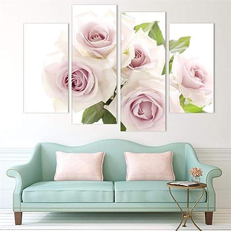 Amazon.com: WSNDG Cuatro colores de rosas lienzo pintura sin ...