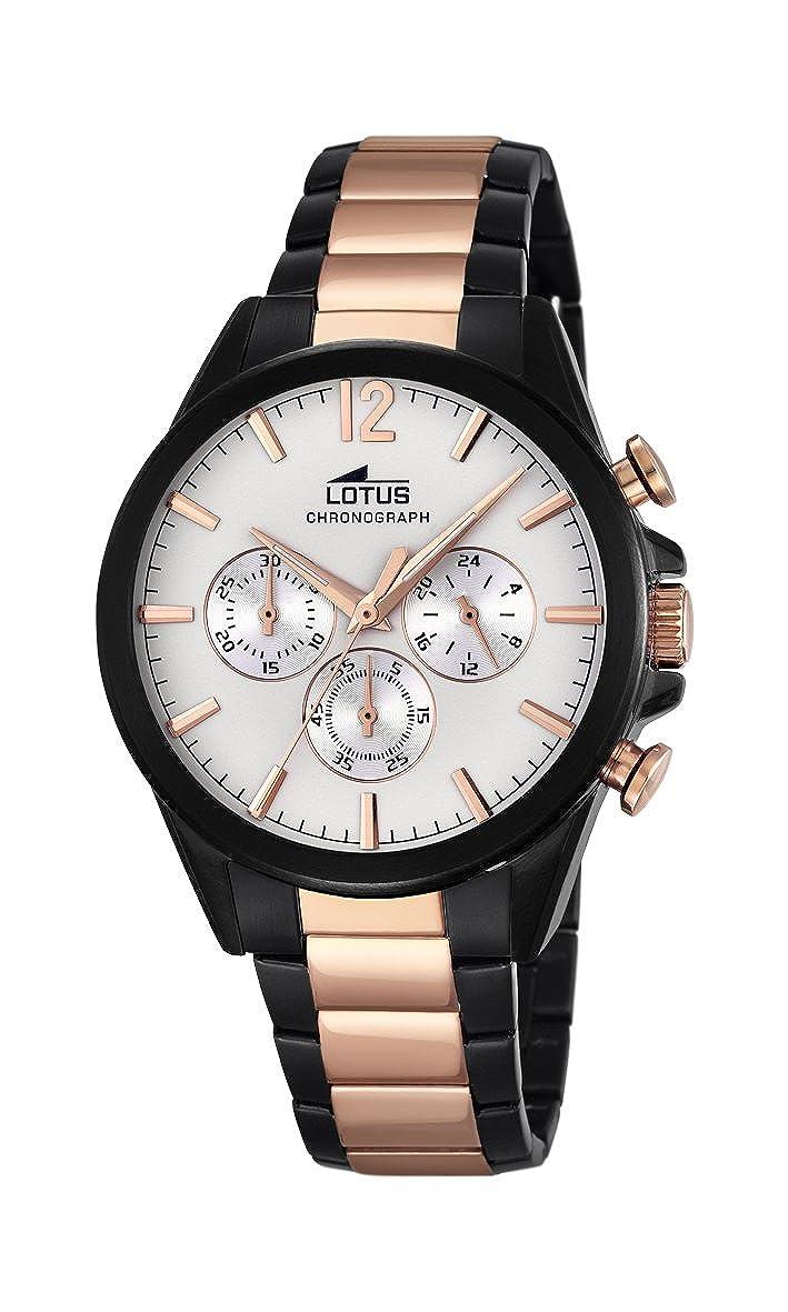 Lotus Reloj de Hombre de Cuarzo con cronógrafo, Esfera Blanca y Dos Tonos Pulsera de Acero Inoxidable 18195/1: Lotus: Amazon.es: Relojes
