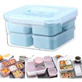 Portable Bento Box, lesgos Leakproof Lunch Box with 6 Compartments, BPA-Free Reusable Meal Prep Containers Microwaveable and Dishwasher Safe for Kids Adults