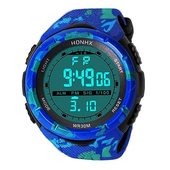 Bestow Reloj Impermeable de Moda para Hombre LCD HONHX Reloj Digital Reloj de Pulsera Deportivo para