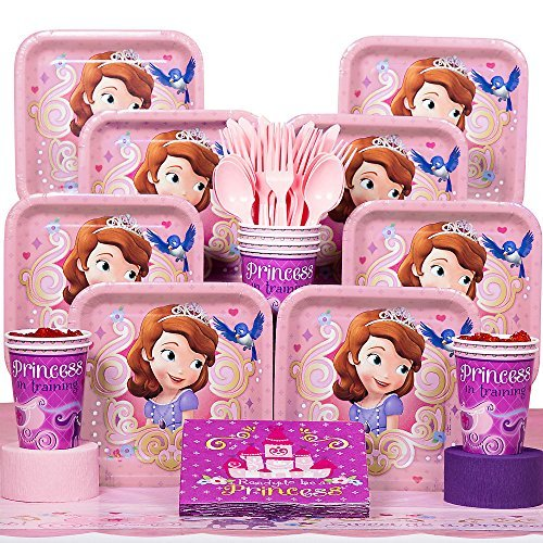 Disney Junior Sofia the First Deluxe Party Supplies Pack Including Plates, Cups, Napkins and Tablecover - 16 Guests -