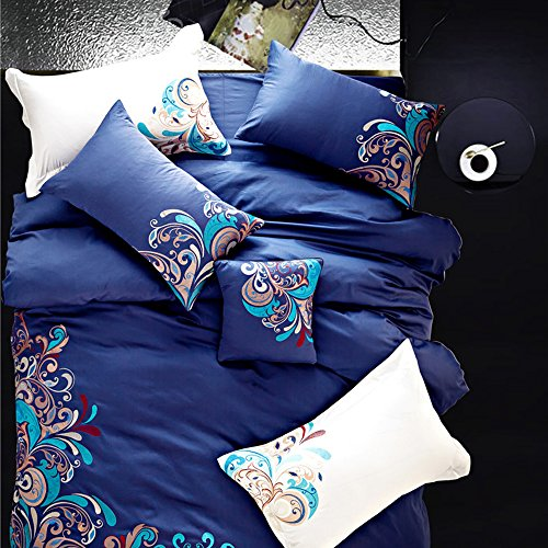MKXI Boho Style Textile Bedding Paisley Embroidery Peacock Duvet Cover Set Queen King Set