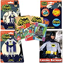 PopShoppes Batman (Batman Classic TV Series) PopBox Deluxe Set (Bendable Figure, Playing Cards, Bendable Keychain, Magnet and Button Set) Cool Value!