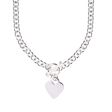 af576ca4aa18 Amazon.com  JewelryWeb Italian 925 Sterling Silver Heart Tag Disc Fancy  Toggle Necklace - 18 Inch  Chain Necklaces  Jewelry