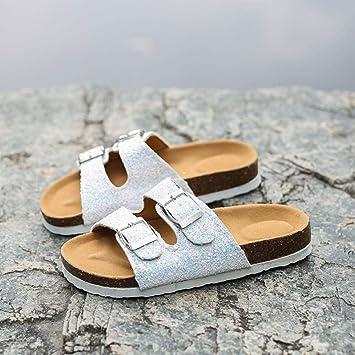 WENSISTAR Sandalias con Cordones para Mujer,Zapatillas de Corcho ...