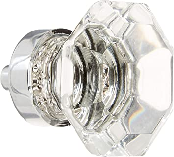 3 pc Crystal Octagon Glass Kitchen Cabinet Knobs Drawer Furniture Handle T3