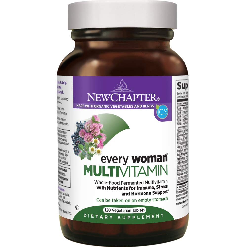 New Chapter Women's Multivitamin, Every Woman, Fermented with Probiotics + Iron + Vitamin D3 + B Vitamins + Organic Non-GMO Ingredients - 120 ct by New Chapter