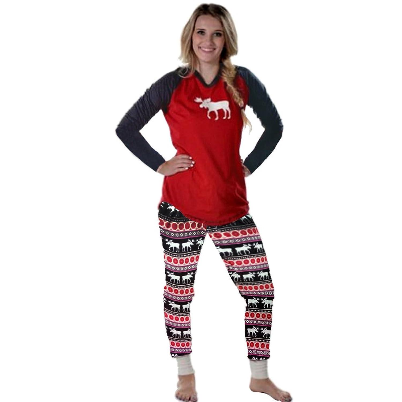 903b02a2fa Mangotree 2 Stück Set Damen Schlafanzug Pyjama Weihnachten Familie Matching  Pyjama Setzt Kinder Mama Papa Xmas