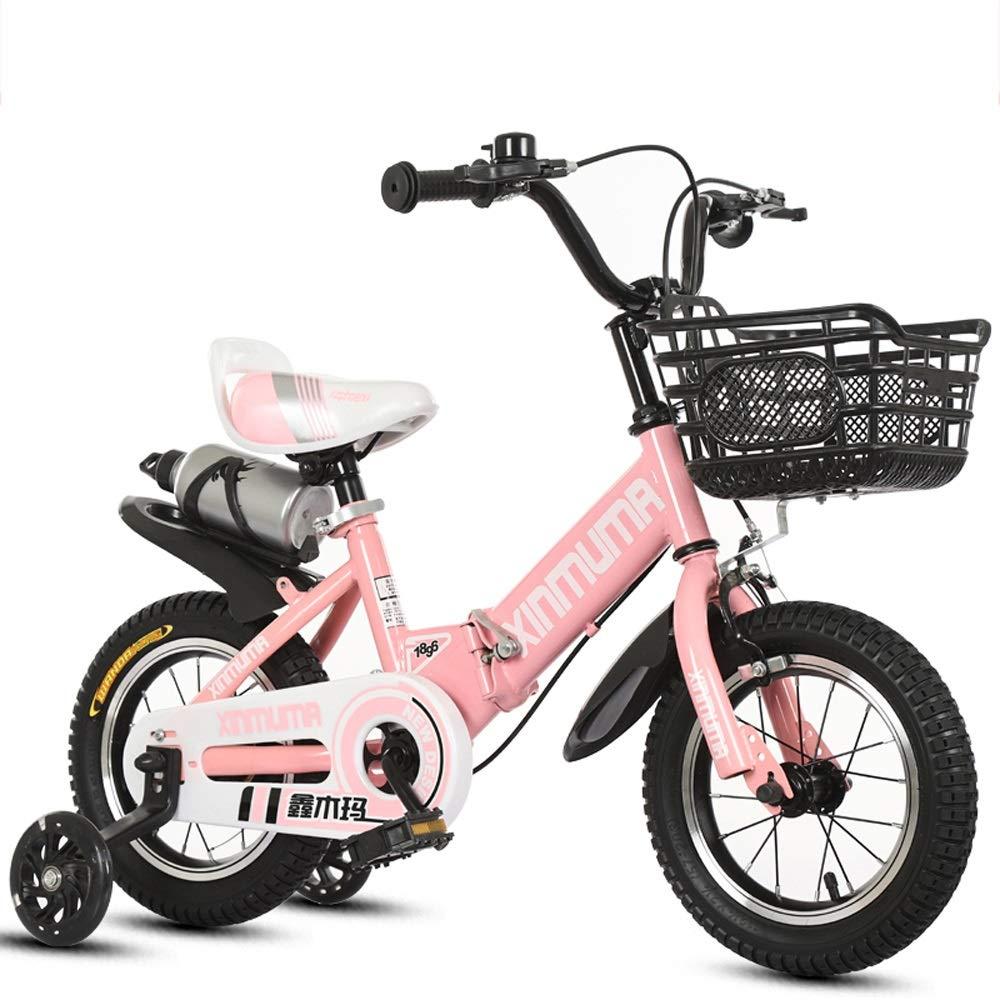 E  TSDS Vélo pour Enfants 14 Pouces Pliant Le vélo extérieur Rose Rouge Bleu de Bicyclette