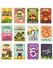 Mushy Moments Baby Milestone Photo Cards Gift Set. Complete with Keepsake Box and Infographic. New Baby/Baby Shower Gift.