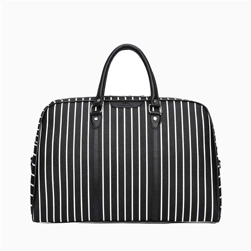 Crystalzhong Travel Duffel Hand Luggage Striped Hand Bag PU Waterproof Gym Bag Traveling Short-Distance Bag Boarding Bag Waterproof Shoulder Bag Weekender Overnight Luggage