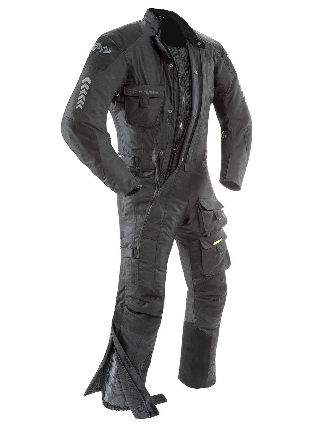 Joe Rocket Survivor Mens Waterproof 1-Piece Motorcycle Riding Suit (Black/Black, Large)