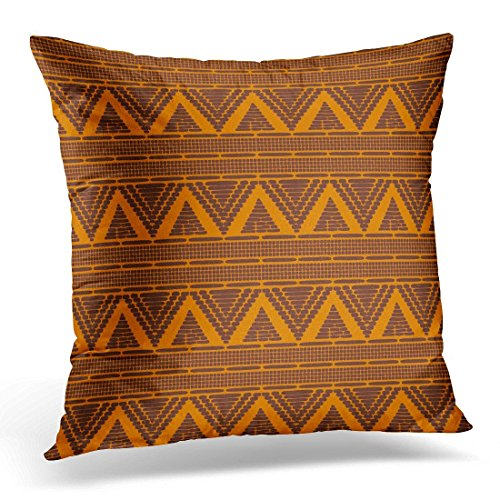 SPXUBZ Australia Tribal Pattern Ethics African Orange Brown Border and Boho American Ghana Decorative Home Decor Square Indoor/Outdoor Pillowcase Size: 20x20 Inch(Two Sides) (Cheap Furniture Outdoor Australia)
