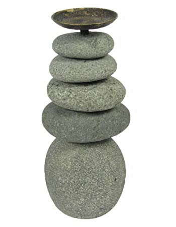Zen Garden Quintuple 5 Rock Stacked Cairn Candle Holder Trail Marker  Natural River Stone Art Statue
