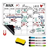 AIEX Dry Erase Calendar Magnetic Monthly Refrigerator Calendar with Magnet Markers and Eraser for Whiteboard & Fridge(30x40cm/11.8x15.7inches)