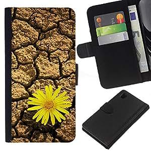 Ihec-Tech / Flip PU Cuero Cover Case para Sony Xperia Z1 L39H - Life tenacious flowers Desert Sunflower