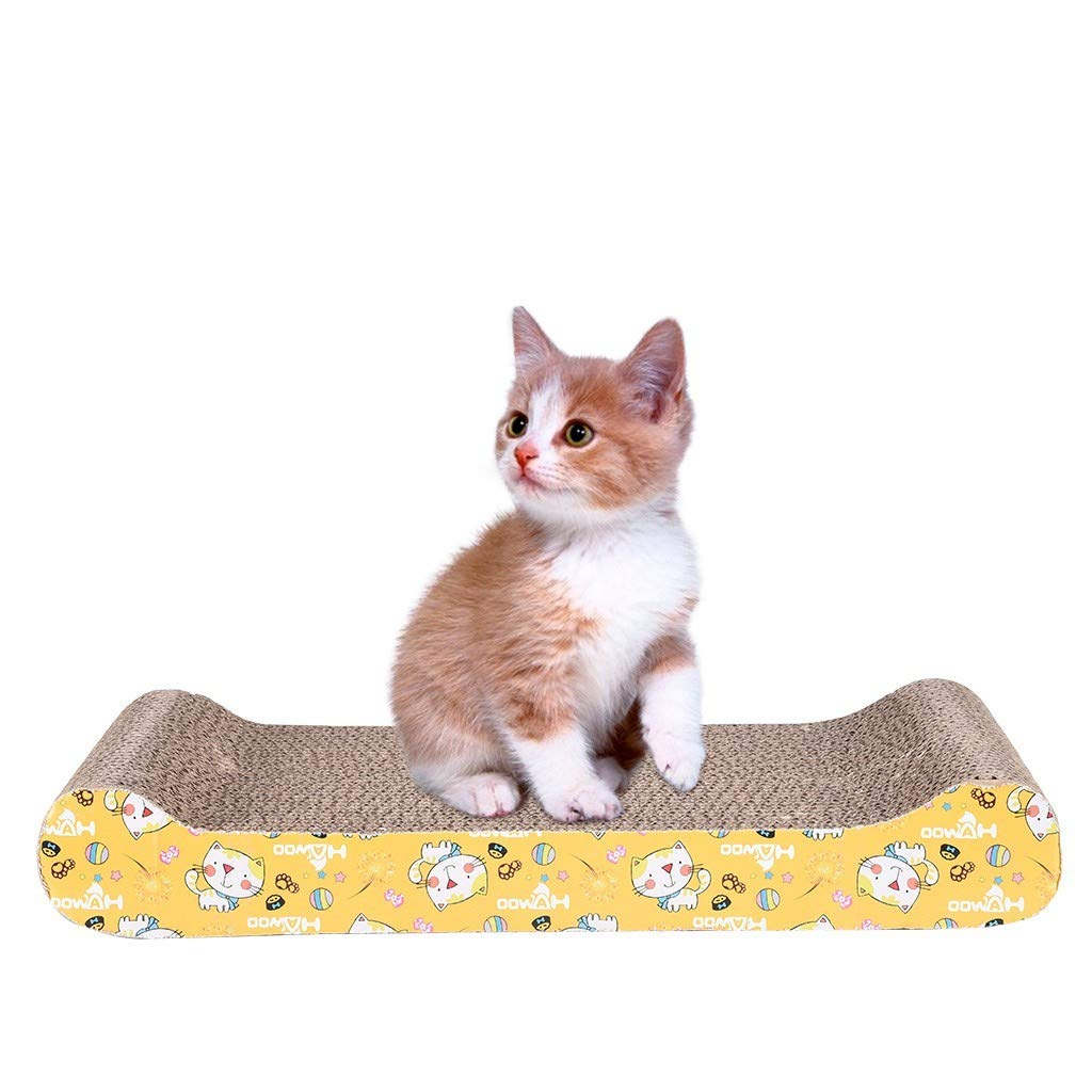 Arrowsy Large Cat Scratcher Cardboard, Scratching Pad, with Rolling Bell Ball Toy and Catnip, Wide and Durable - US Stock by Arrowsy