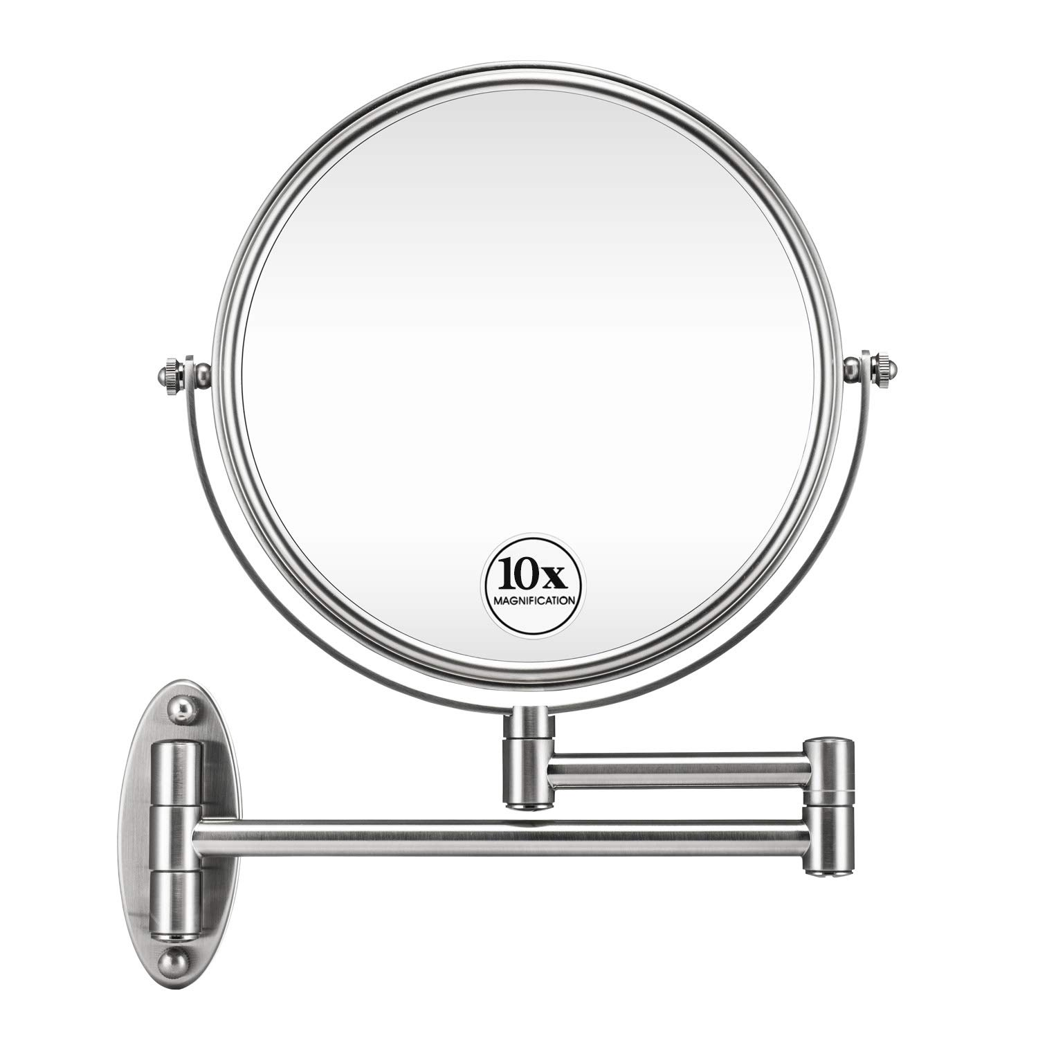 Amazon Com Gloriastar 10x Wall Mounted Makeup Mirror Double Sided Magnifying Makeup Mirror For Bathroom 8 Inch Extension Brushed Nickel Mirror