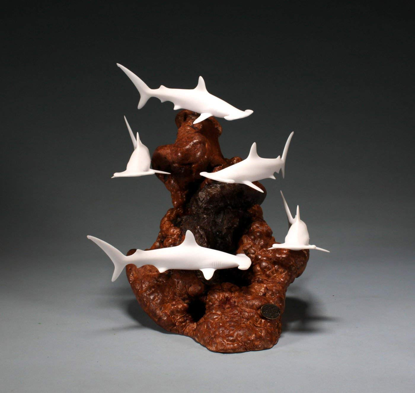 HAMMERHEAD SHARK SCHOOL Sculpture by JOHN PERRY Pellucida 12in tall