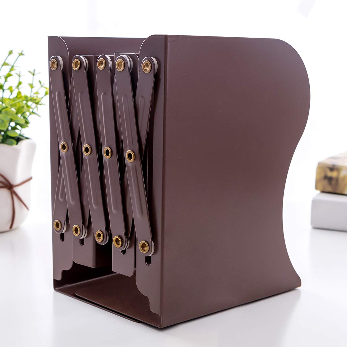 PUNCIA Expandable Bookcase Desktop Bookend Stand Holder Adjustable Book Rack for Kid Child Student Book Organizer Brown 4-17.7in x 7.5in x 5.9in