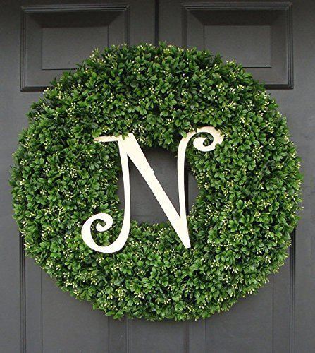 Elegant Holidays Handmade Thick Artificial Faux Boxwood Wreath with Monogram, Welcome Guests with Decorative Front Door for Outdoor Indoor Home Wall Accent Décor All Seasons and Holidays 14-26 inch