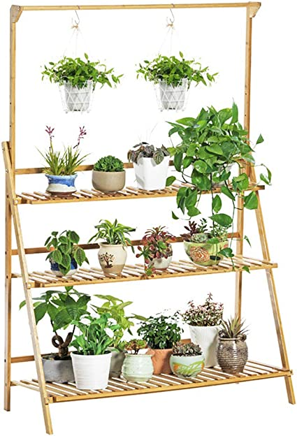 Amazon Com Lebeauty Wooden Plant Stand Flower Shelf Holder 8 Tier Pot Shelves Bonsai Display Storage Rack Outdoor Indoor Garden Patio For Multiple Plants 33 4x35 4x9 8inch Brown C Garden Outdoor