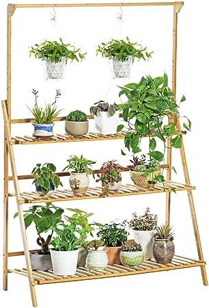 Amazon Com Lebeauty Wooden Plant Stand Flower Shelf Holder 8 Tier Pot Shelves Bonsai Display Storage Rack Outdoor Indoor Garden Patio For Multiple Plants 33 4x35 4x9 8inch Brown C Garden Outdoor