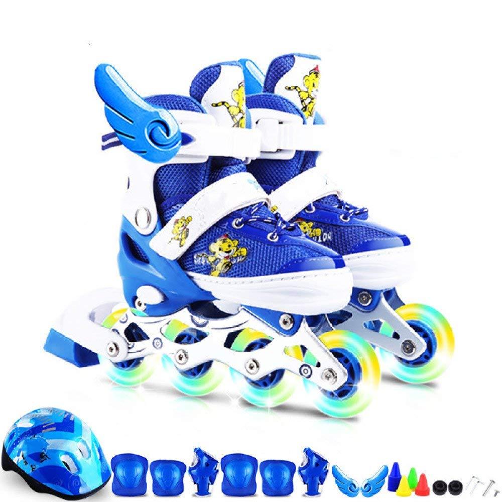 ZYH インラインスケートローラースケート調節可能な子供男性と女性のスケートストレート行初心者子供幼児男の子女の子大人のアイススケート  Blue-L-Set1 B07RBLM5XF